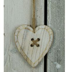 A shabby chic style wooden hanging heart decoration with jute string hanger.