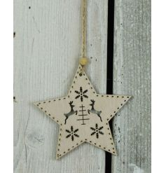 A rustic style wooden star hanger with a reindeer and snowflake design.