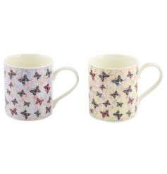 Pretty butterfly mugs in a mix of 2 pastel colours.