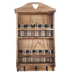 A rustic style spice wall rack with 10 spice bottles and hooks.