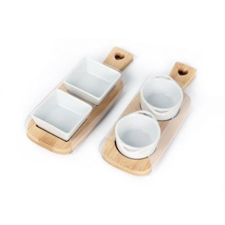 Double Dipping Dishes on Bamboo Boards, 2 Assorted
