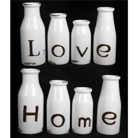 Set 4 Love/Home Bottles