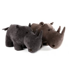 2 assorted rhino doorstops making a stylish and unique home accessory.