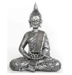 A silver Buddha tlight holder with jewel finish
