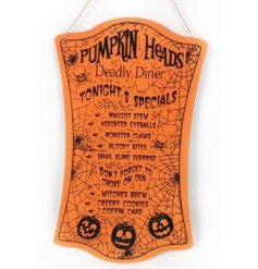 Pumpkin heads deadly diner feature spooky specials. A fun and fabulous sign for Halloween.
