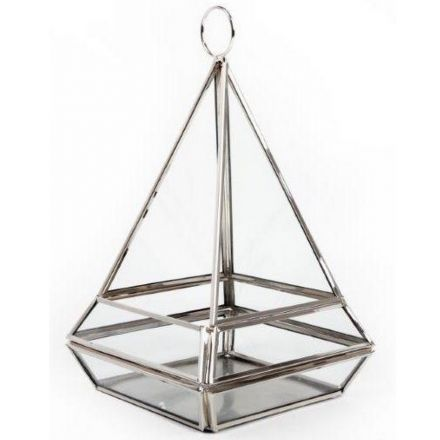 Silver Pyramid Tlight Candle Holder