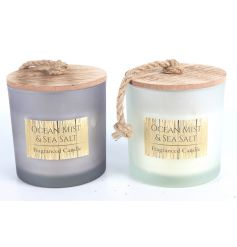 Two assorted sweet smelling coastal charm themed scented candles will bring the salty beach vibes to any home