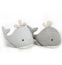 Charming and cute stripe whale doorstops in 2 assorted designs.