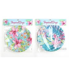 Paper plates with a popular tropical design