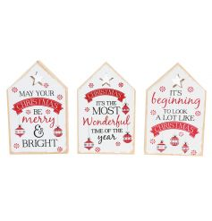 A mix of 3 nordic style wooden house plaques with assorted slogans and a beautifully illustrated bauble design.