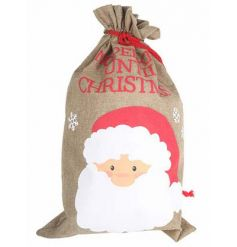 No Peeking before Christmas! A wonderful large hessian sack with slogan and Santa image.