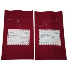 2 assorted red Santa sacks with postage stamp signs. Unique and festive storage sacks for gifts!