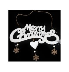 'Merry Christmas' sign finished with golden painted hanging snowflakes and heart