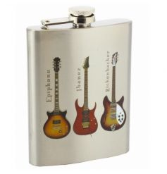 Stainless steel hip flask with cool guitar print