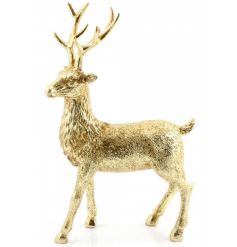 A fabulous gold reindeer figure with a touch of sparkle. The perfect way to add that wow factor to your home this season