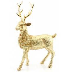 Add some glamour to the home with this shimmering gold reindeer figure.