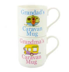Set of two stacking mugs with popular Caravan print