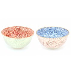 A set of 2 oriental bowls in bright colour assortments with contrasting inside and outside patterns.