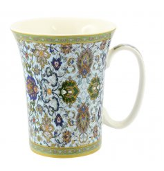 Bone china trumpet mug with Mosaic design