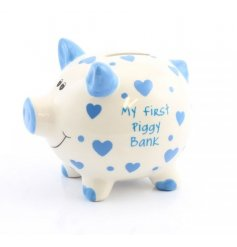 Small My First Piggy Bank Blue