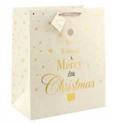 A beautiful fine quality Christmas gift bag with tag. Includes a glitter gem and popular festive slogan.