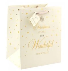 A glamorous Wonderful Time Of The Year gift bag with diamante snowflake and matching tag.