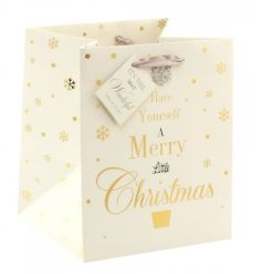A beautiful Christmas gift bag with ribbon handle, matching tag and diamond snowflake detail.