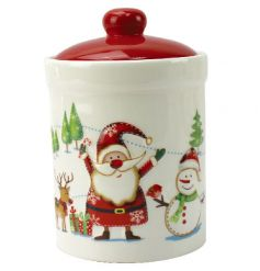 A fun and festive large canister with festive scene. Perfect for storing festive bakes and tempting treats!