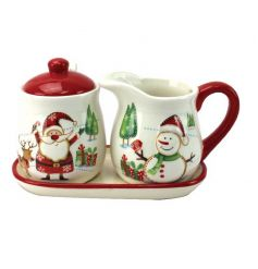 This charming Christmas design sugar and cream set is the perfect addition to the festive table