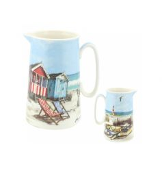 A stylish jug with a coastal sandy bay design. Display as pictured or fill with your favourite blooms.