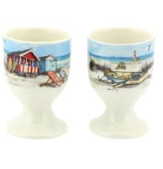 Enjoy your eggs with this pair of stylish cups with a charming coastal design.