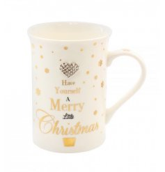 A glamorous gold polka dot mug with heart gem and festive slogan.