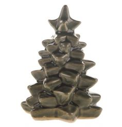 A ceramic tree ornament with a richly coloured green glaze.