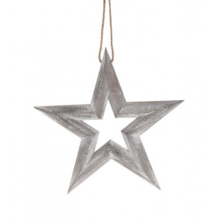 Pack Of 5 Wooden Stars 29705 Christmas Hanging Decorations