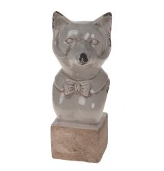 A charming Mrs Fox ornament with a distressed grey glazed finish.