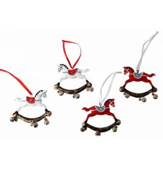 An assortment of 4 charming rocking horse decorations with bells.