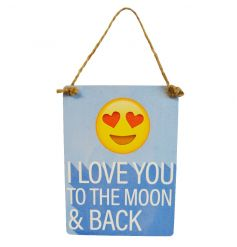 Exclusive mini dangler emoticon sign reading I Love You To The Moon & Back
