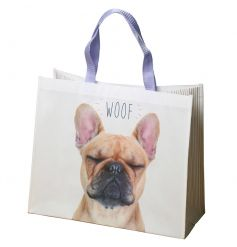 Cute french bulldog printed shopping bag