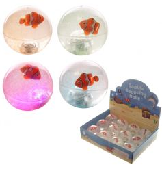 An assortment of soft bouncy balls with flashing lights