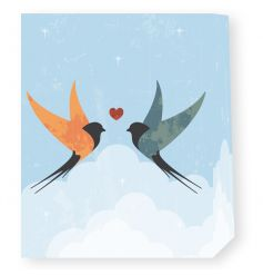 An attractive swallow design gift bag with kissing birds.