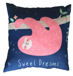 A gorgeous pink and blue sloth cushion with Sweet Dreams slogan.