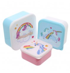 Cute lunch boxes in a set of three unicorn designs