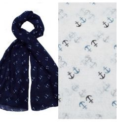 Stylish anchor scarves in 2 assorted colours. Light weight and stylish accessory.