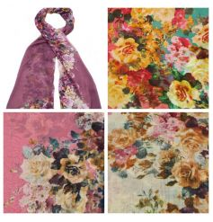 A versatile and super wearable floral scarf in a mix of pretty floral designs.