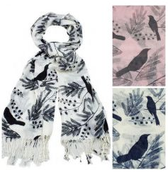 A gorgeous bird design scarf in blue, black and pink colours. The perfect finishing touch.