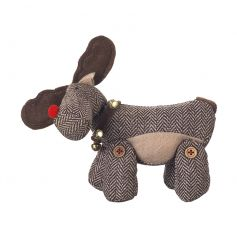A tweed moose decoration with a bell collar. A charming festive decoration.