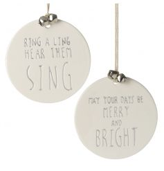 A mix of charmingly simple hanging ceramic decorations, assorted by their scripted text decals