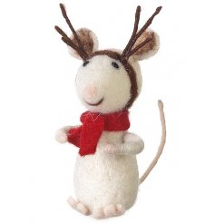 A unique and adorable wool mouse in reindeer fancy dress. A charming festive decoration.