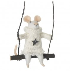 An adorable mouse on swing with knitted star jumper. A unique hanging decoration.