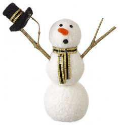 A wool snowman ornament with gold glitter scarf and hat. A unique glitz item for the season.